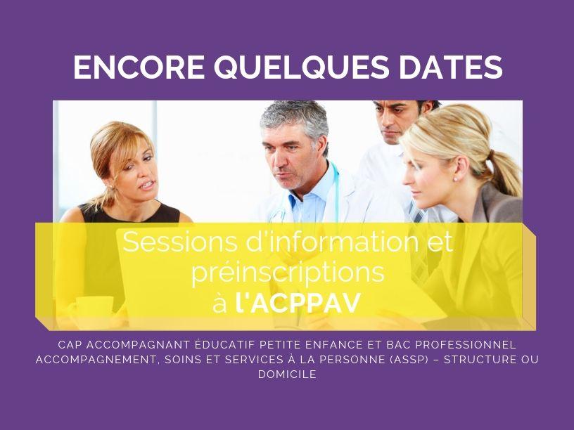 Sessions d'information et préinscriptions à l'ACPPAV